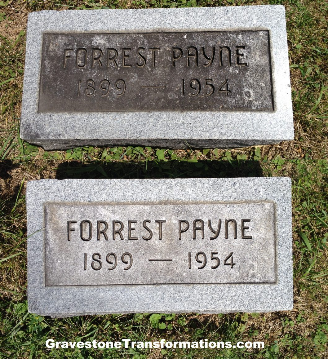 Gravestone Transformations - Forrest Payne - Browns Chapel Cemetery - Clarksburg, Ohio - before and after cleaning