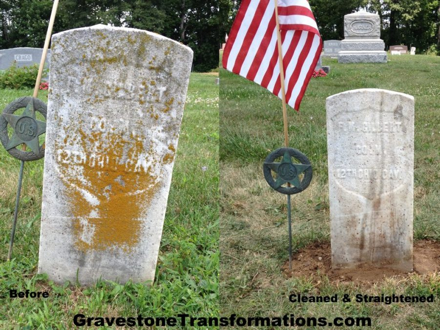 Gravestone Transformations - Francis M Gilbert - Browns Chapel Cemetery - Clarksburg, Ohio - before and after cleaning and resetting