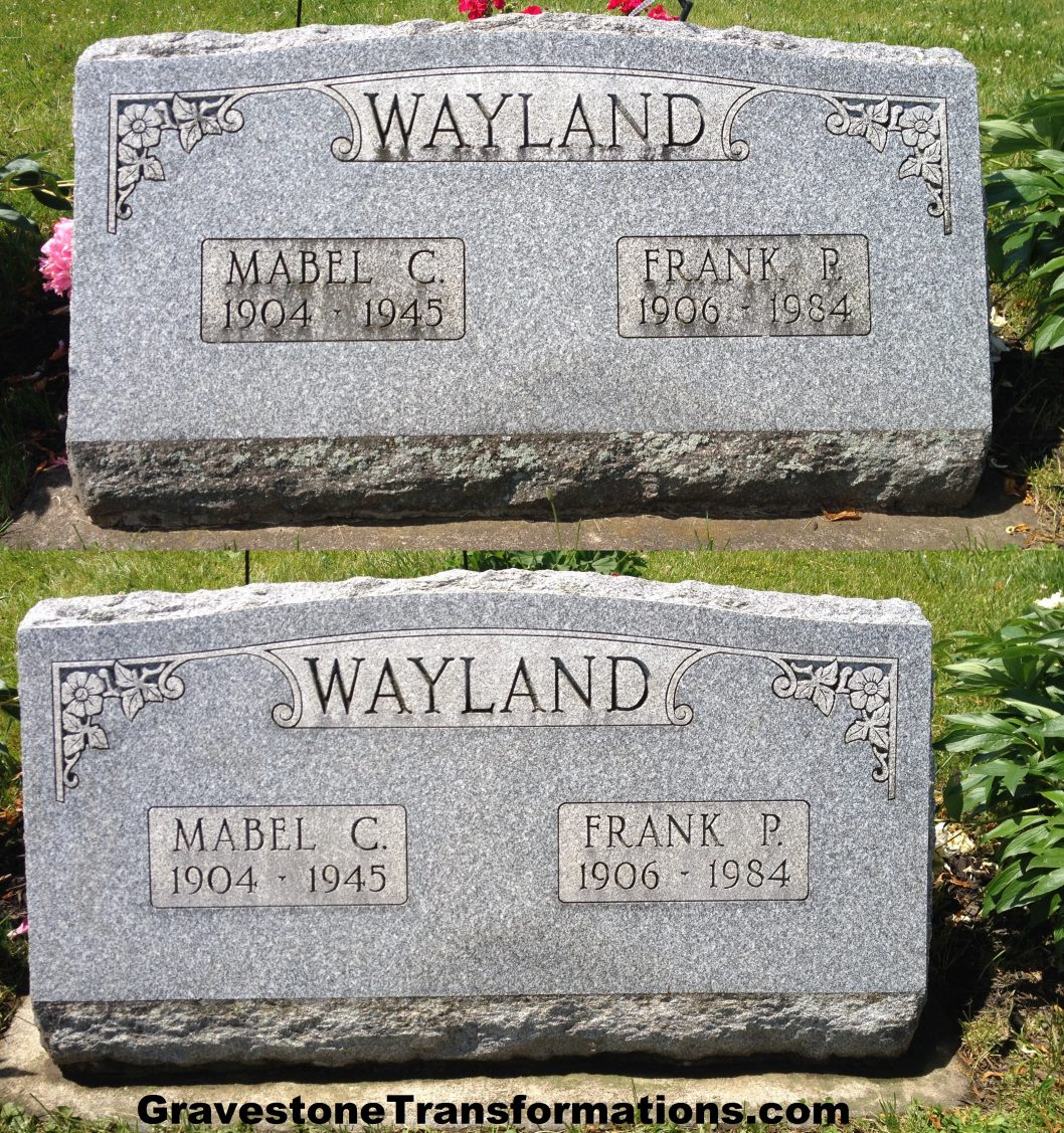 Gravestone Transformations - Frank and Mabel Wayland - Greenlawn Cemetery - Frankfort, Ohio - BA