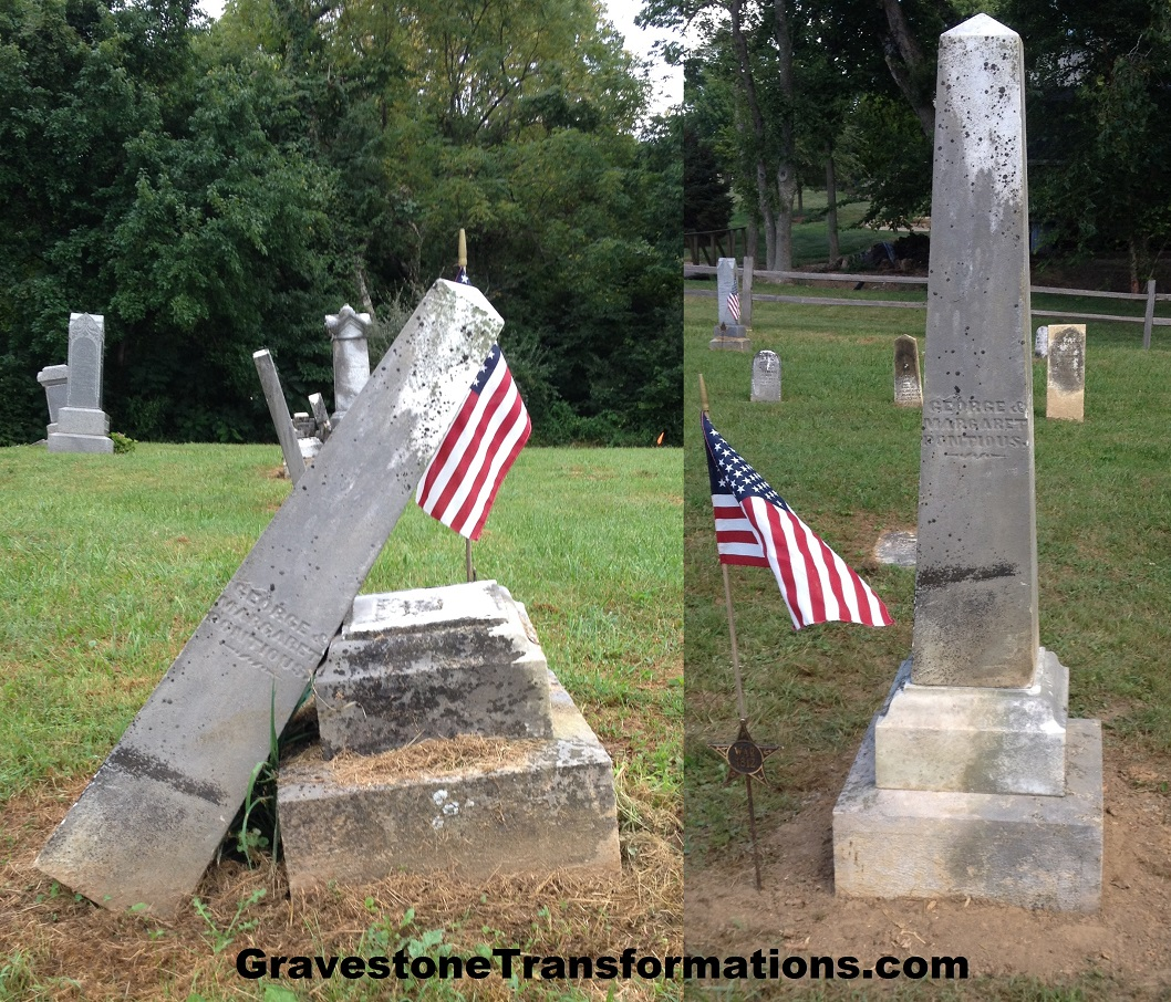 Gravestone Transformations - George_Margaret Pontious - Zion Cemetery - Pickaway County sc
