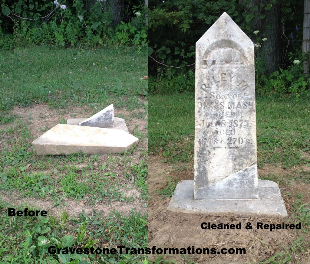 Gravestone Transformations - Riley Mash - Browns Chapel Cemetery - Clarksburg, Ohio - before and after repair and cleaning