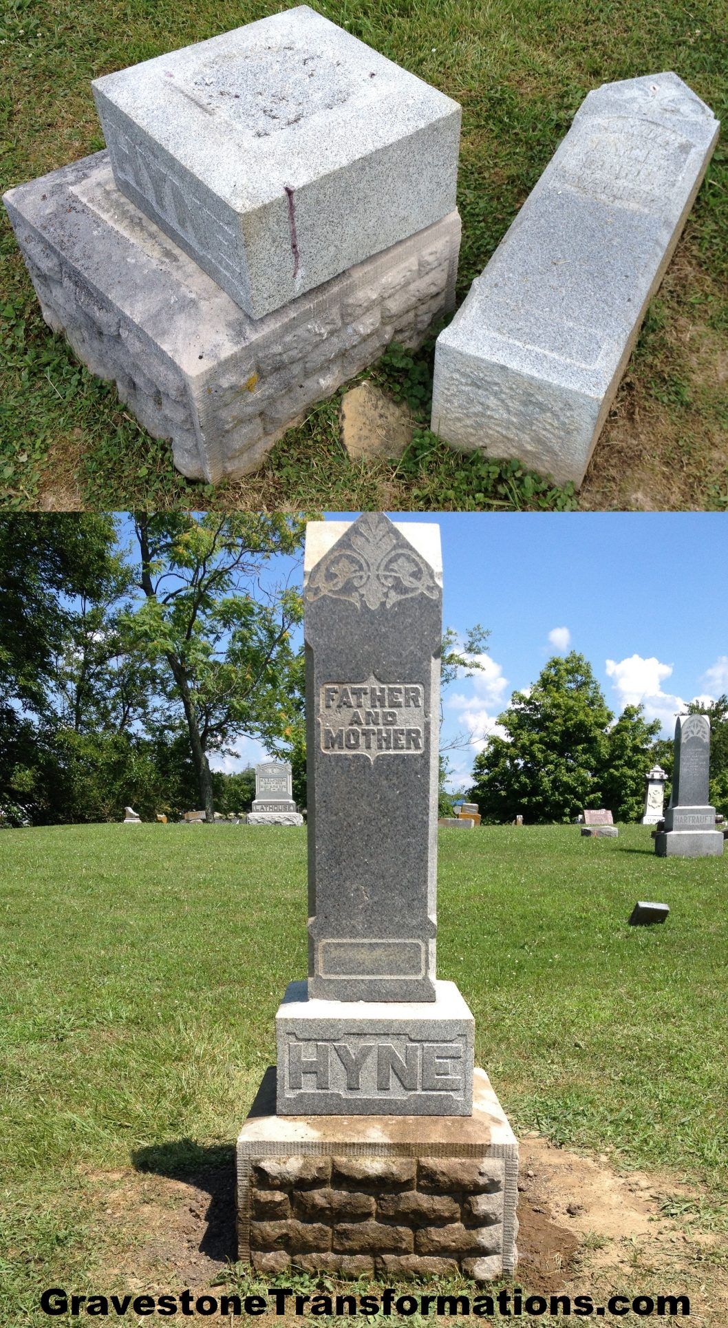 Gravestone Transformations - Samuel and Rebecca Hyne - Heidelberg Church Cemetery - Stoutsville, Ohio - Before and after cleaning and resetting