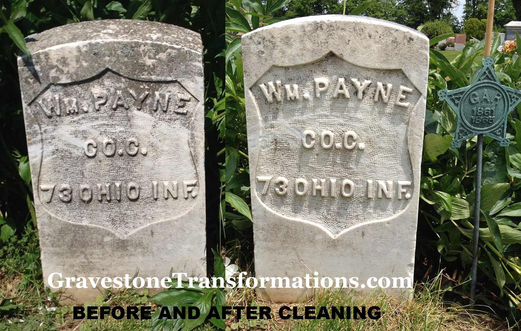 William Payne - Browns Chapel Cemetery , Ross County Ohio - before cleaning and 8 days after cleaning