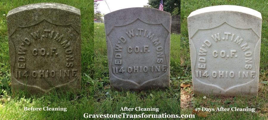 Gravestone Transformations - Edward W Timmons - Forest Cemetery , Pickaway County Ohio - before cleaning, ater cleaning and 17 days after cleaning