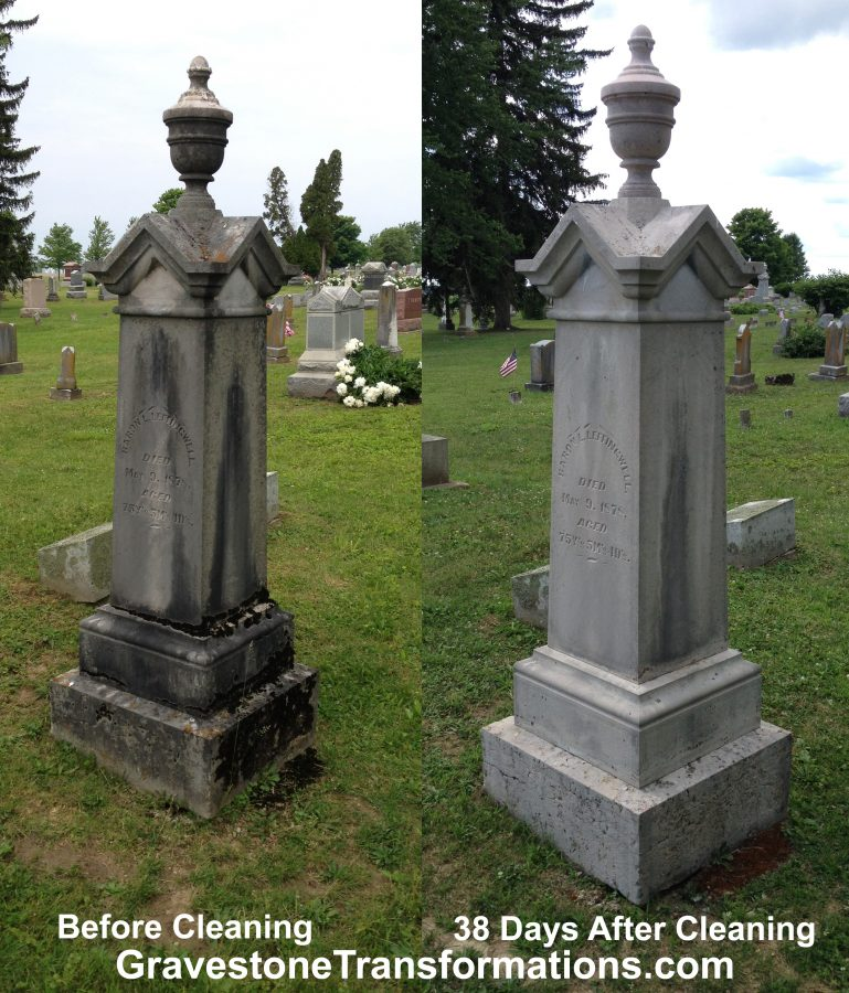 Baron L Leffing, Mary Boyd Leffingwell - Browns Chapel Cemetery , Ross County Ohio - before cleaning and after cleaning